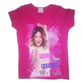 T-shirt maglia maglietta bimba bambina Disney Violetta fucsia