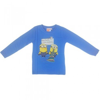 T-shirt maglia maglietta cotone bimbo bambino Minions azzurro