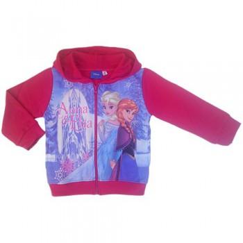 Felpa maglia maglietta aperta con zip bimba bambina Disney Frozen fucsia