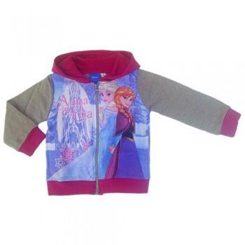 Felpa maglia maglietta aperta con zip bimba bambina Disney Frozen grigio