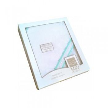 Accappatoio triangolo telo spugna aida bimbo bimba neonato bianco verde