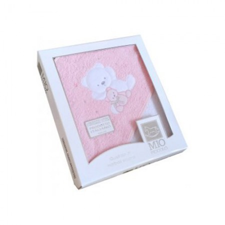 Accappatoio triangolo telo spugna bimba neonato ricamo orsetto rosa