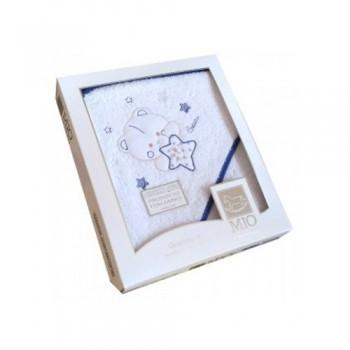 Accappatoio triangolo telo spugna Mio Piccolo bimbo neonato ricamo orsetto con stella bianco blu