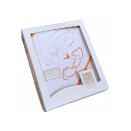 Accappatoio triangolo telo spugna bimbo bimba neonato ricamo coniglio bianco arancione