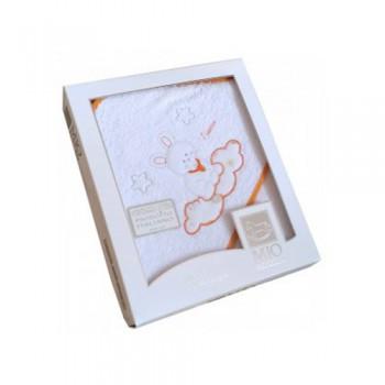 Accappatoio triangolo telo spugna Mio Piccolo bimbo bimba neonato ricamo coniglio bianco arancione