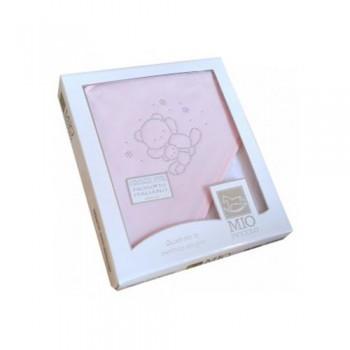 Accappatoio triangolo telo spugna Mio Piccolo bimbo neonato ricamo strass orsetto rosa