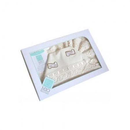 Completo culla lettino bimba bimbo neonato lenzuolo macramè panna