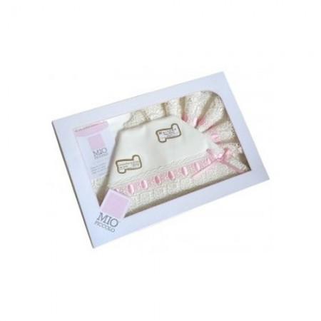 Completo culla lettino bimba neonato lenzuolo macramè panna rosa