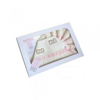 Completo lettino culla  Mio Piccolo bimba neonato lenzuolo macramè panna rosa