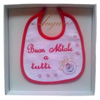 Bavetta bavaglino bavaglio Natale bimba bimbo neonato spugna Birillini